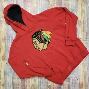 REEBOK YOUTH LARGE CHICAGO BLACK HAWKS HOODIE L